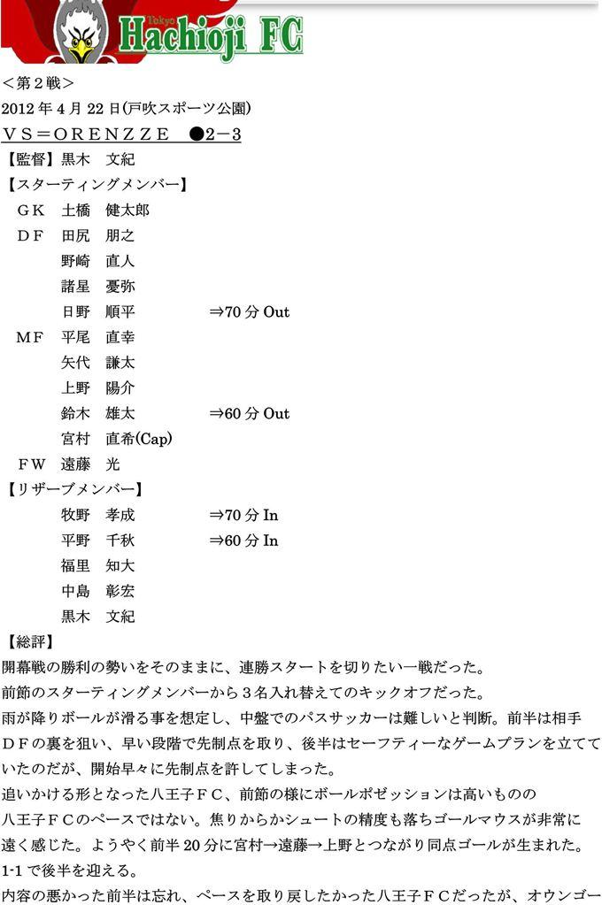 【八王子FC】2012リーグ第2戦vsORENZZE