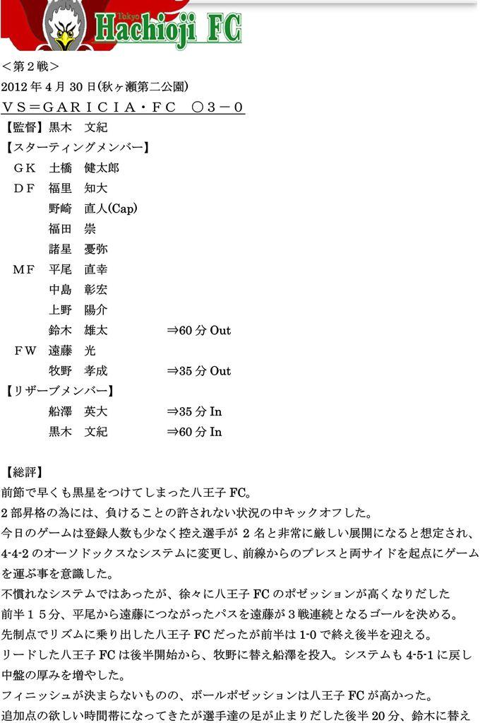 【八王子FC】2012リーグ第3戦vsGARICIAFC