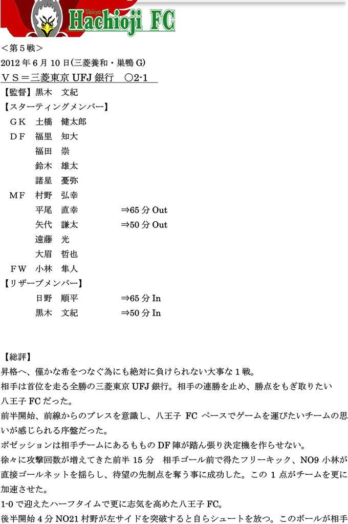 【八王子FC】2012リーグ第6戦vs三菱東京UFJ銀行
