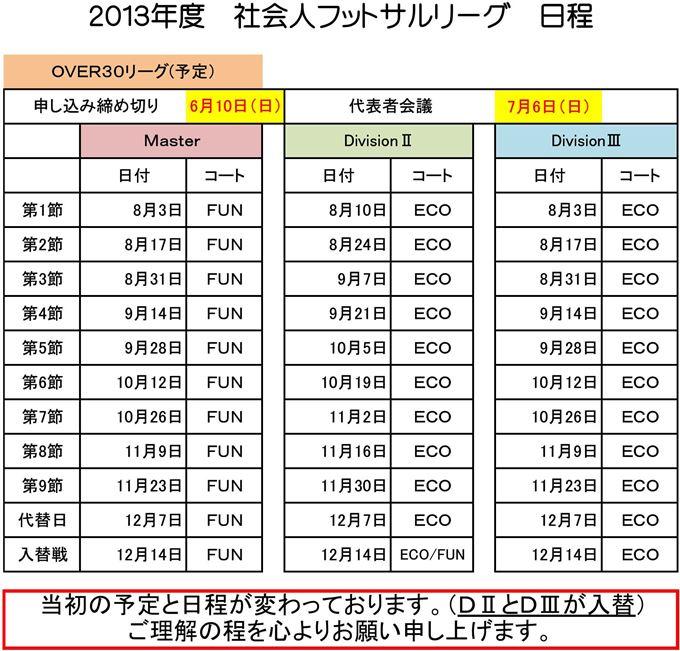 社会人フットサルOVER30リーグ日程(変更点あり)