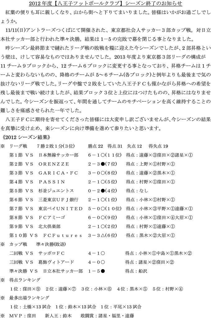 2012年度【八王子フットボールクラブ】シーズン終了のお知らせ