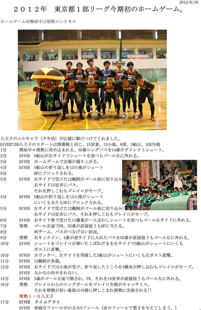 【DIVERTIDO】2012.6.16 vs情熱