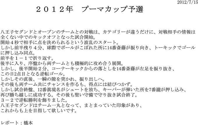 【DIVERTIDO】2012.7.15 プーマカップ予選