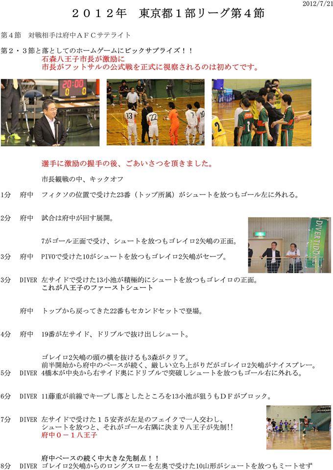 DIVERTIDO試合レポート 2012.7.21 4節 vs府中