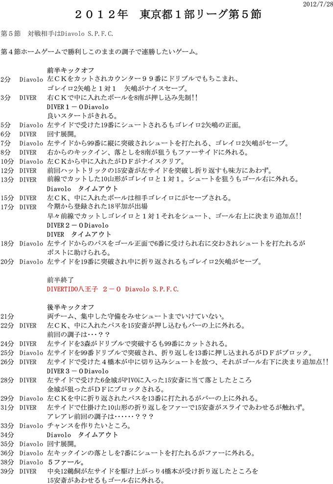 DIVERTIDO試合レポート 2012.7.28 5節 vsDiavolo S.P.F.C.