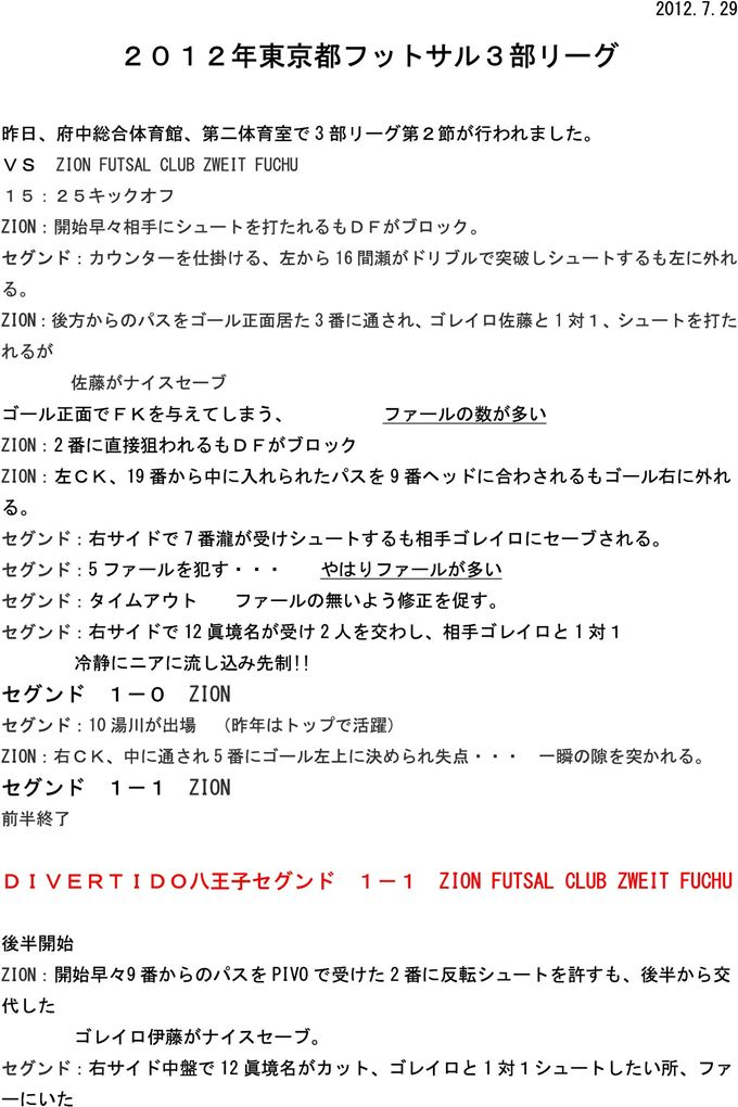 DIVERTIDOセグンド試合レポート 2節 vs ZION FUTSAL CLUB ZWEIT FUCHU